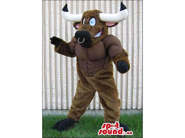 Customised Strong Brown Bull Animal Canadian SpotSound Mascot With Nose Ring