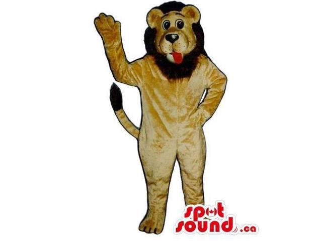 Customised And All Light Brown Lion Canadian SpotSound Mascot With Red Tongue