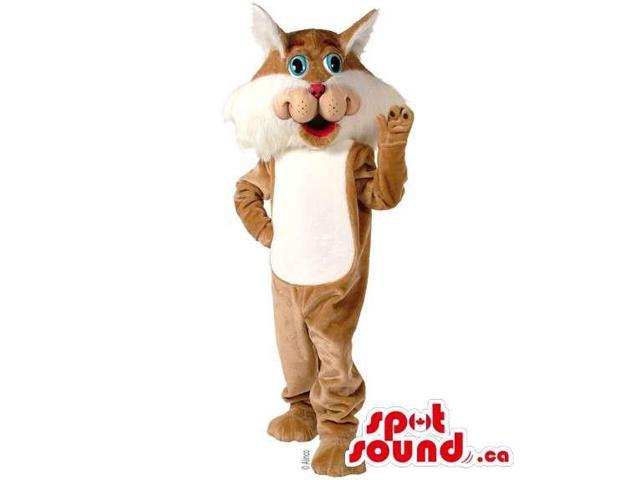 Brown Bunny Plush Canadian SpotSound Mascot With White Belly And Wide Face