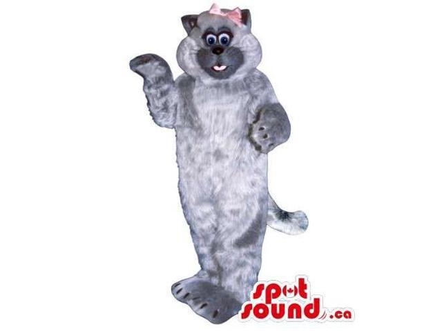 Customised All Grey Cat Canadian SpotSound Mascot Dressed In A Pink Ribbon