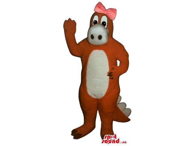 Orange Alligator Plush Canadian SpotSound Mascot With A White Belly And Pink Ribbon