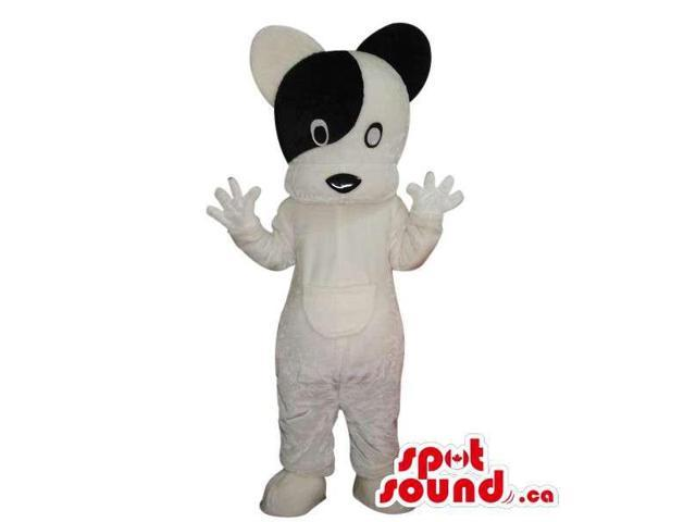Lovely White And Black Dog Pet Plush Canadian SpotSound Mascot With Round Head