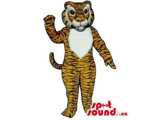 Customised Orange Tiger Canadian SpotSound Mascot With Black Stripes And White Face