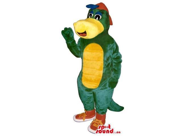 Green Alligator Plush Canadian SpotSound Mascot With A Yellow Belly And A Cap