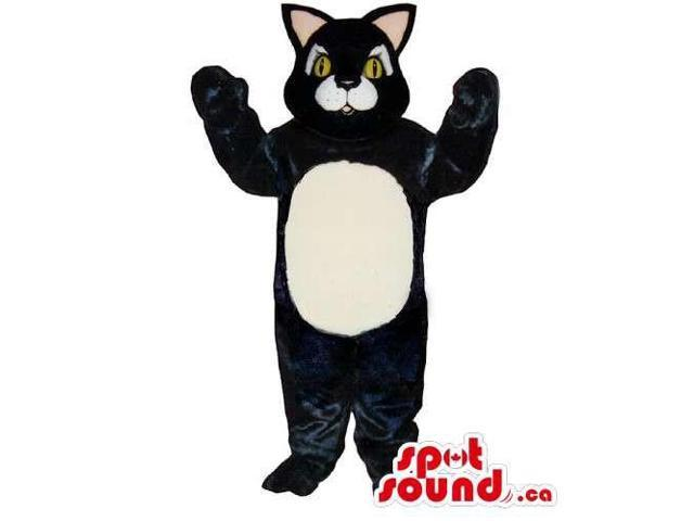 Customised Black Large Cat Canadian SpotSound Mascot With A White Belly