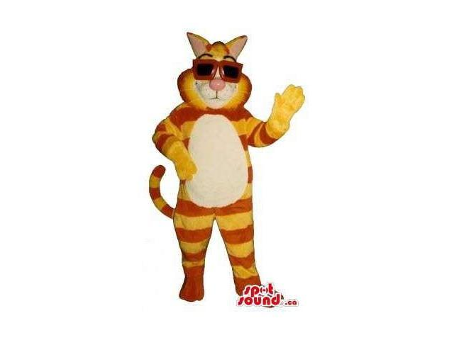 Cat Canadian SpotSound Mascot With Orange And Yellow Stripes Dressed In Sunglasses