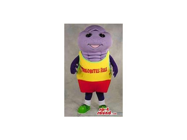 Purple Trilobite Canadian SpotSound Mascot With Yellow And Red Clothes With Text
