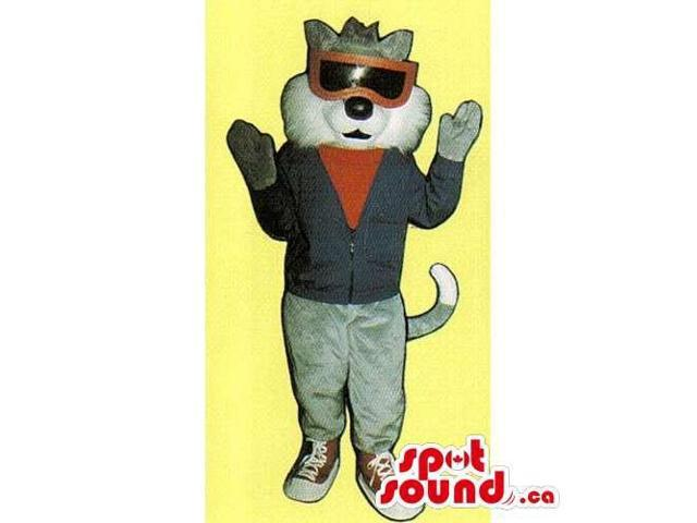 Customised Grey Cat Canadian SpotSound Mascot Dressed In Clothes And Sunglasses