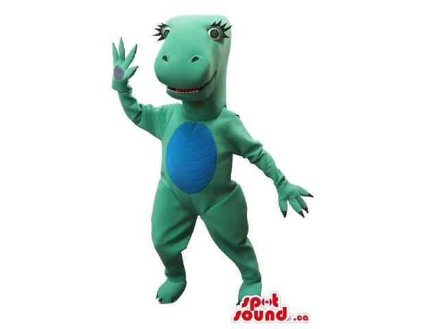 Green Dinosaur Girl Plush Canadian SpotSound Mascot With A Blue Belly