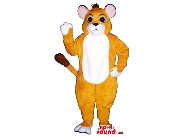 Customised Light Brown Cat Canadian SpotSound Mascot With A White Belly