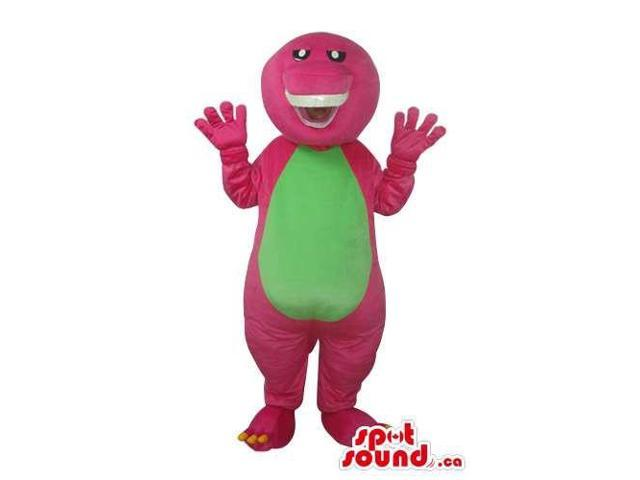 Peculiar Pink Dinosaur Plush Canadian SpotSound Mascot With A Green Belly