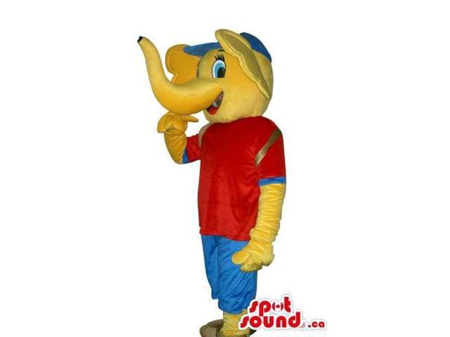 Peculiar Yellow Elephant Canadian SpotSound Mascot Dressed In Red And Blue Gear