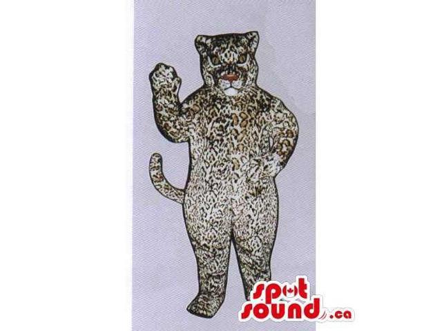 Customised Leopard Wild Animal Canadian SpotSound Mascot In White And Brown