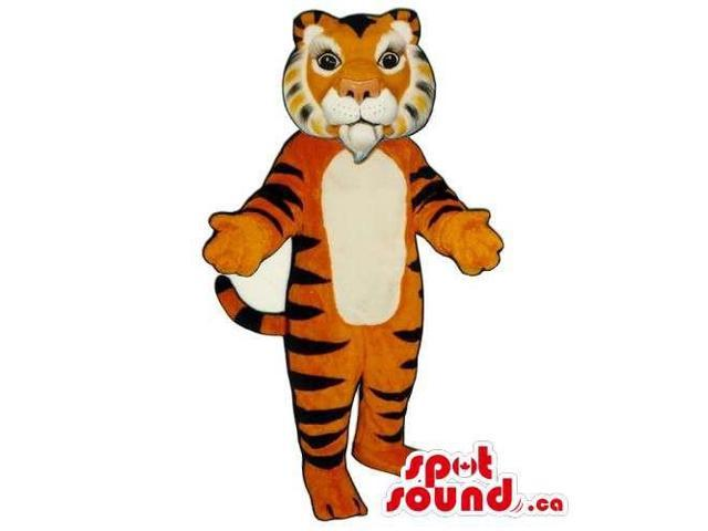 Customised Orange Tiger Animal Canadian SpotSound Mascot With White Belly