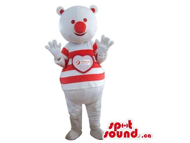 Teddy Bear Plush Canadian SpotSound Mascot With A Large Red Nose Dressed In A Customised Top