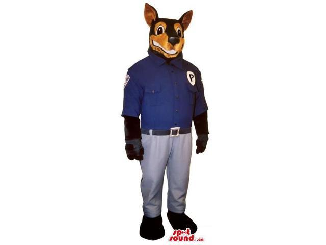 Large Brown Dog Plush Canadian SpotSound Mascot Dressed In Police Clothes