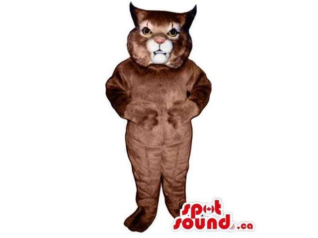 Customised Brown Wildcat Canadian SpotSound Mascot With A White Mouth