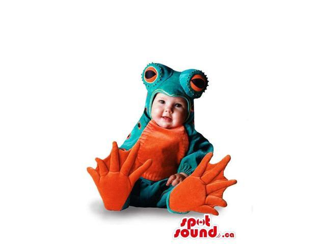 Cute Toddler Size Green And Orange Frog Plush Costume