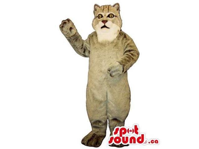 Customised Grey Wildcat Canadian SpotSound Mascot With A White Mouth