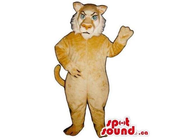Customised Light Brown Lion Canadian SpotSound Mascot With A White Beard