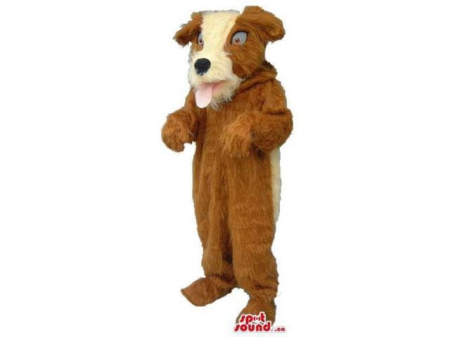 Cute Woolly Brown Dog Plush Canadian SpotSound Mascot With A White Face