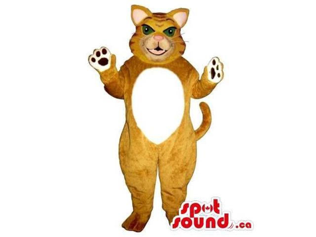Customised Brown Cat Animal Canadian SpotSound Mascot With Round White Belly