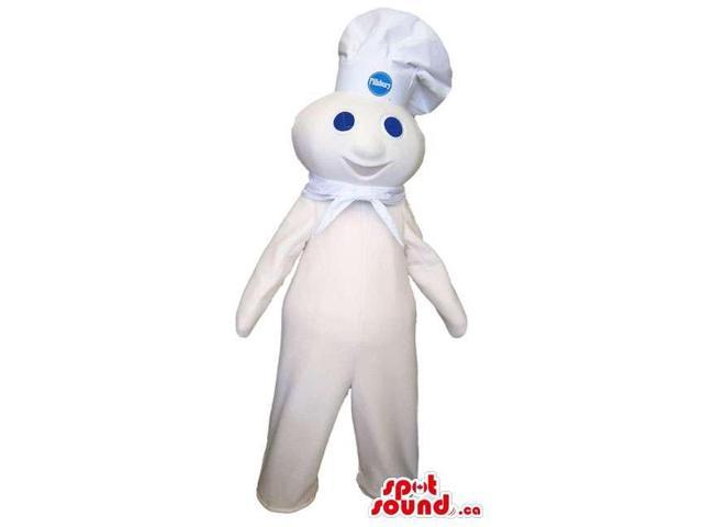 Happy White Creature Plush Canadian SpotSound Mascot Dressed In A Chef Hat With Logo