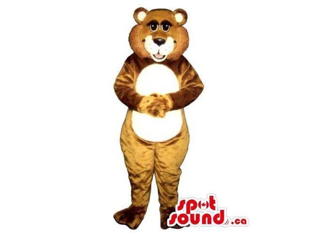 Customised Brown Bear Forest Canadian SpotSound Mascot With Round White Belly