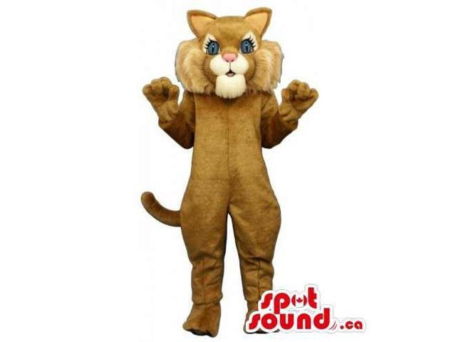 Customised Brown Cat Canadian SpotSound Mascot With Pink Nose And Blue Eyes