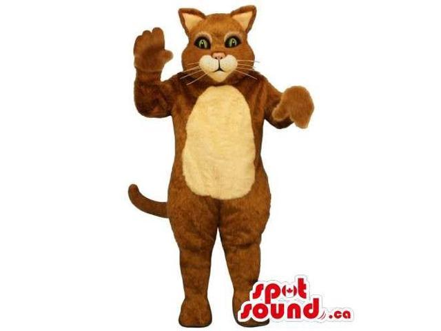 Customised Brown Cat Animal Canadian SpotSound Mascot With Beige Belly