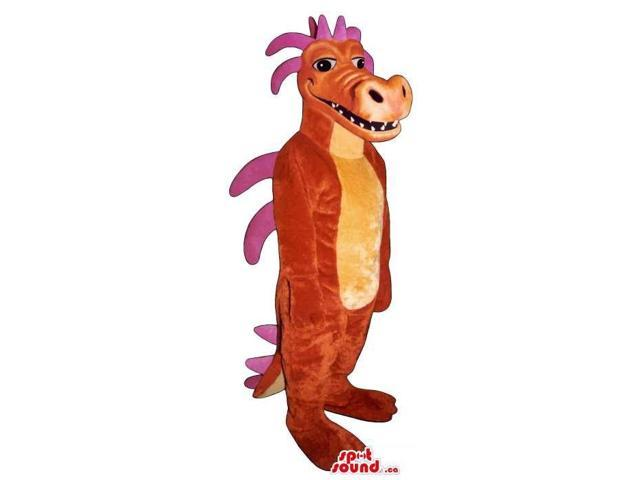 Red And Orange Dragon Plush Canadian SpotSound Mascot With Purple Spikes