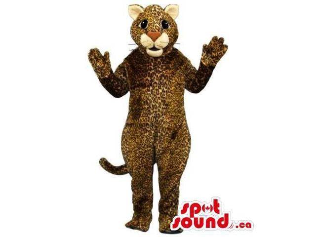 Customised Brown And Beige Leopard Canadian SpotSound Mascot With Large Nose