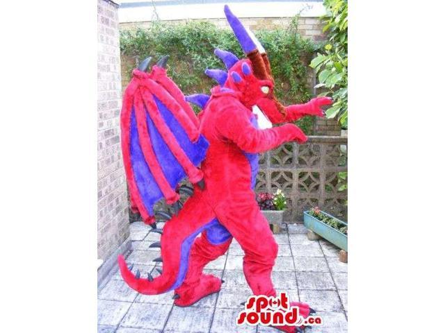 Red And Blue Dragon Plush Canadian SpotSound Mascot With Great Wings