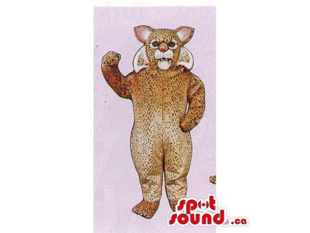 Customised Brown And Beige Wildcat Canadian SpotSound Mascot With Furious Look