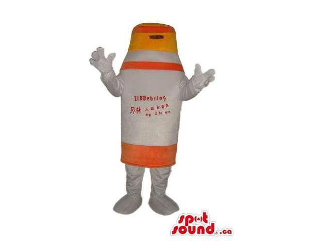 White And Orange Bottle Drink Canadian SpotSound Mascot Or Disguise With Text