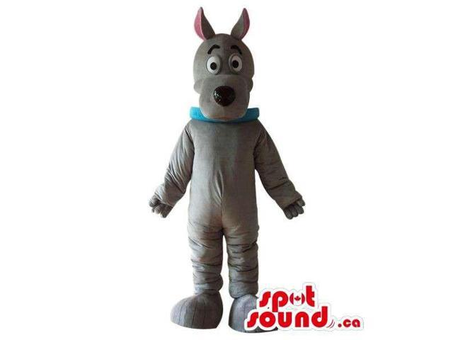 Cute Cartoon Grey Dog Plush Canadian SpotSound Mascot With A Blue Collar