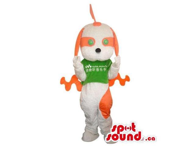 Fairy-Tale White And Orange Dog Plush Canadian SpotSound Mascot Dressed In A Green Top