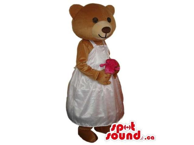 Teddy Bear Girl Animal Plush Canadian SpotSound Mascot With Bride Dress And Bouquet