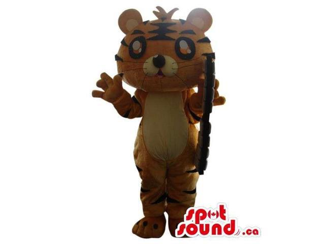 Fairy-Tale Orange Tiger Plush Canadian SpotSound Mascot With Glasses And A Weapon