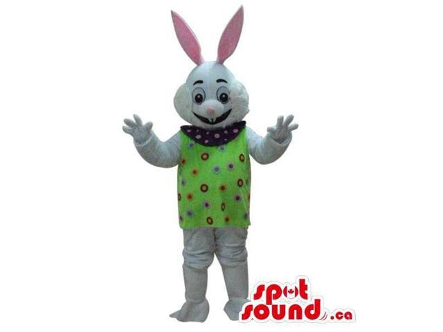 Cute White Rabbit Plush Canadian SpotSound Mascot Dressed In A Green Top