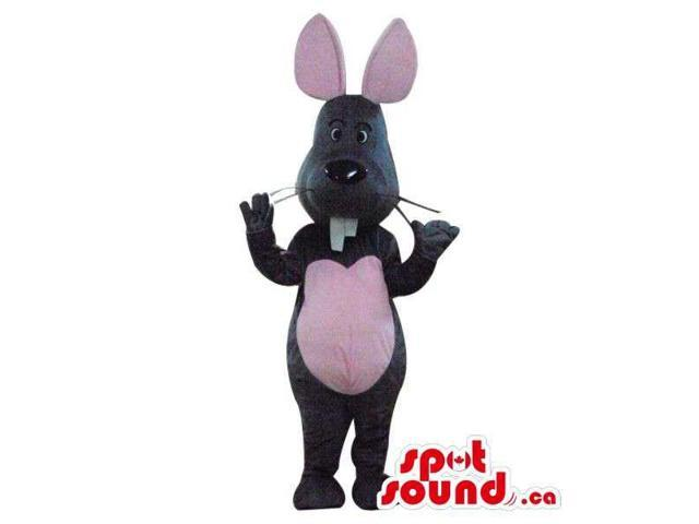 Cute Grey Mouse Plush Canadian SpotSound Mascot With A Peculiar Tooth And Pink Ears