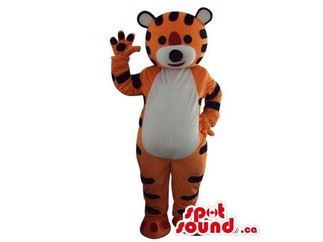 Fairy-Tale Orange Tiger Plush Canadian SpotSound Mascot With White Belly