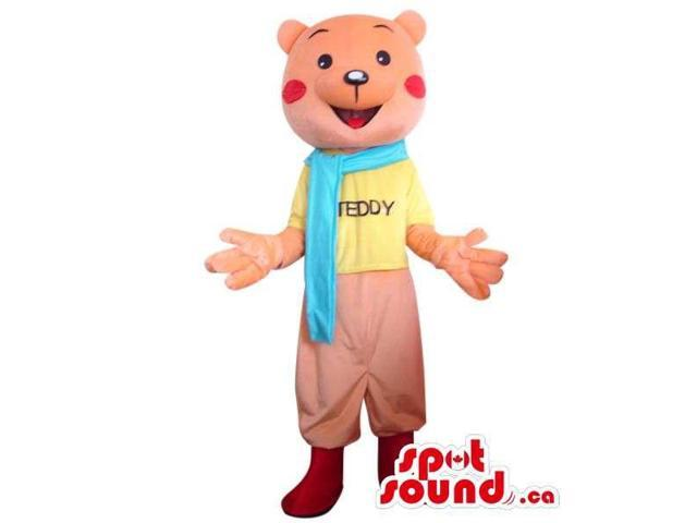 Pink Bear Plush Canadian SpotSound Mascot Dressed In A Scarf And A T-Shirt With Text
