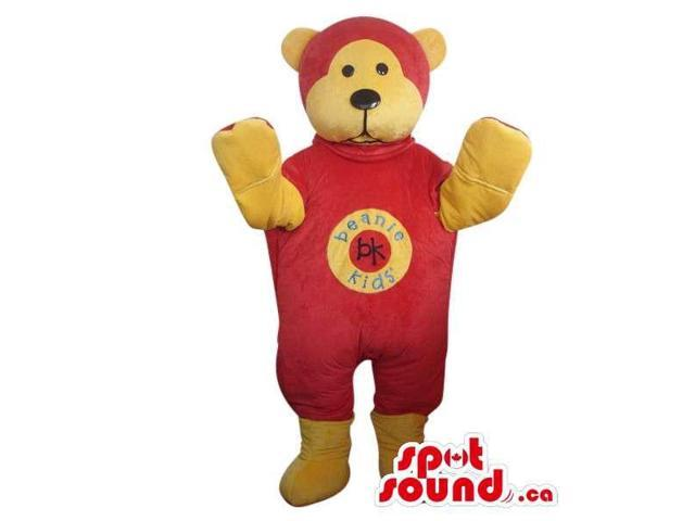 Yellow Teddy Bear Plush Canadian SpotSound Mascot Dressed In Red Gear With A Logo