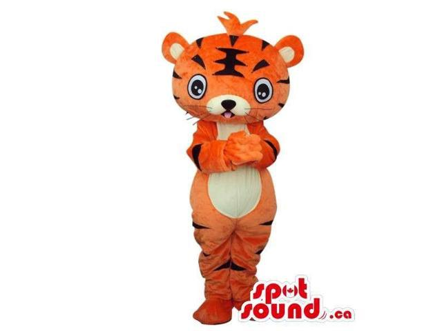 Fairy-Tale Cartoon Orange Tiger Plush Canadian SpotSound Mascot With White Belly