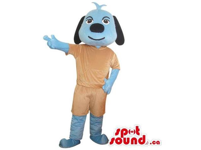 Cute Blue Dog Plush Animal Canadian SpotSound Mascot Dressed In Brown Gear