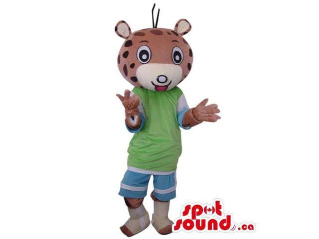 Fairy-Tale Brown Tiger Plush Canadian SpotSound Mascot Dressed In Blue And Green Gear