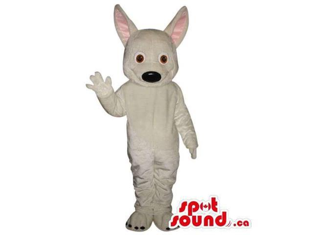 Cute All White Dog Plush Animal Canadian SpotSound Mascot With Long Large Ears