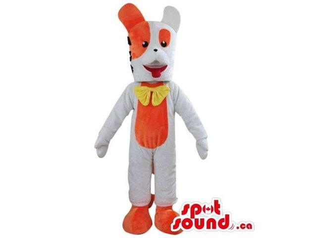 Orange And White Rabbit Plush Canadian SpotSound Mascot Dressed In A Yellow Bow Tie