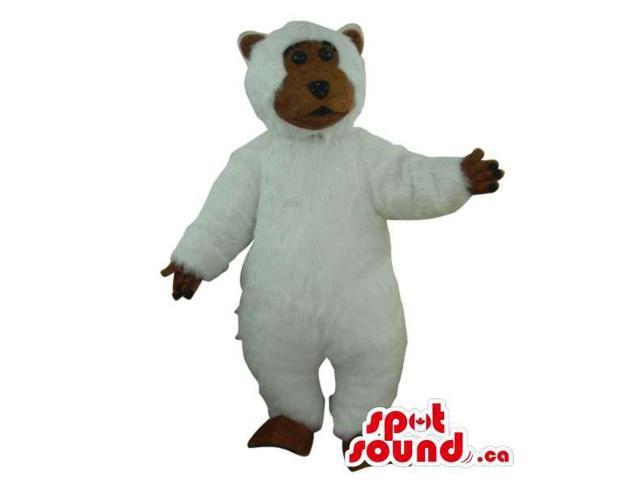 White Large Bear Plush Canadian SpotSound Mascot With A Brown Face And Hands